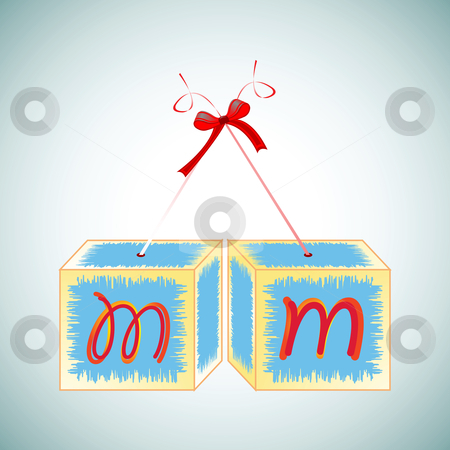 Cubes alphabet M stock vector clipart, Cubes alphabet M, abstract art illustration by Laschon Robert Paul