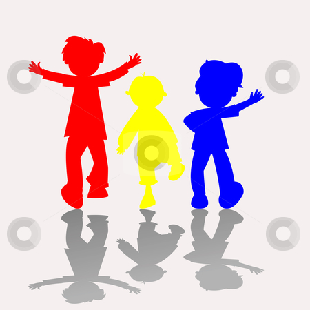 Colored kids silhouettes 2 stock vector clipart, Colored kids silhouettes, vector art illustration by Laschon Robert Paul
