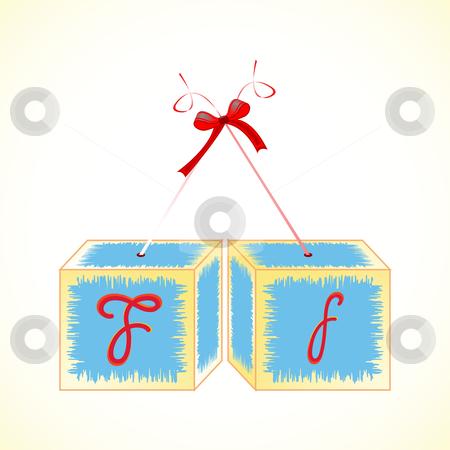 Cubes alphabet F stock vector clipart, Cubes alphabet F, abstract art illustration by Laschon Robert Paul