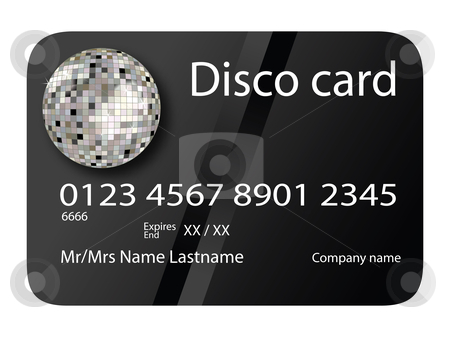 Credit card disco black stock vector clipart, Credit card disco black, vector art illustration; more credit cards in my gallery by Laschon Robert Paul