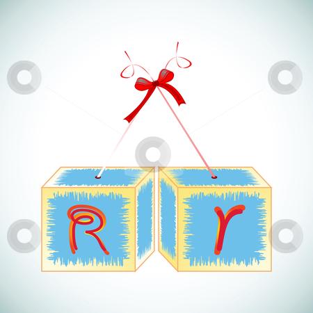 Cubes alphabet R stock vector clipart, Cubes alphabet R, abstract art illustration by Laschon Robert Paul