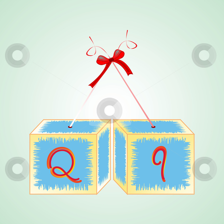 Cubes alphabet Q stock vector clipart, Cubes alphabet Q, abstract art illustration by Laschon Robert Paul