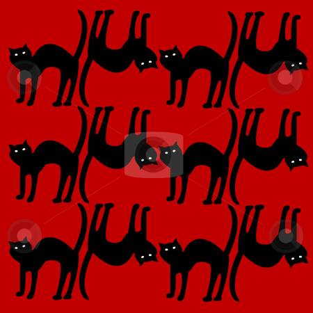Cat pattern isolated on red background stock vector clipart, Cat pattern isolated on red, vector art illustration by Laschon Robert Paul