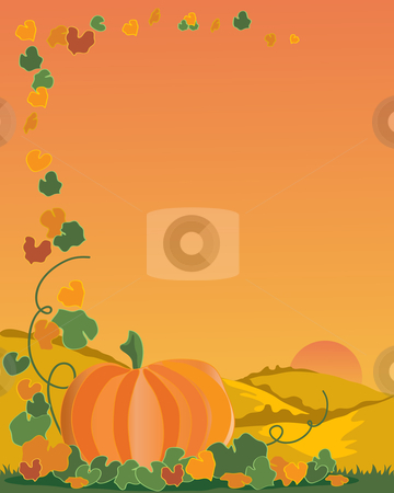 Pumpkin stock vector clipart, A hand drawn illustration of a pumpkin with leaves and vines on a backdrop of a landscape under a setting sun by Mike Smith