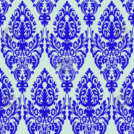 Damask Blue Seamless Texture Stock Vector
