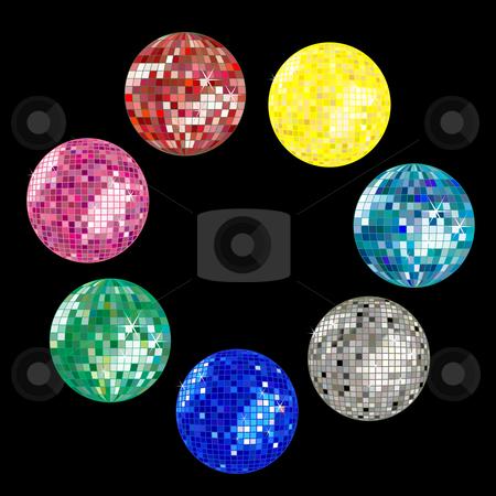 Disco ball collection stock vector clipart, Disco ball collection, vector art illustration by Laschon Robert Paul