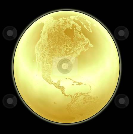 Metallic golden globe illustration with highly detailed terrain  stock photo, Metallic golden globe illustration with highly detailed terrain facing North America - 3d made by Fabrizio Zanier