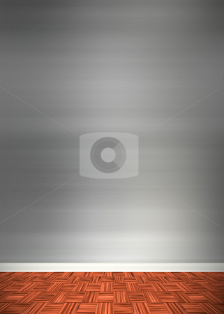 Contemporary Room Interior stock photo, An empty room interior backdrop with hard wood flooring and a brushed aluminum or stainless steel wall treatment. by Todd Arena