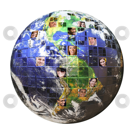 Global Network of People  stock photo, Montage of the earth with a global network of people from all walks of life on different continents isolated over white.  Clipping path included. Earth photo courtesy of NASA. by Todd Arena