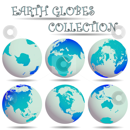 Earth globes collection stock vector clipart, Earth globes collection against white background, abstract vector art illustration by Laschon Robert Paul