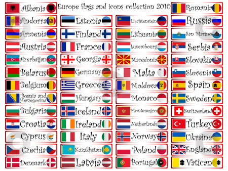 Europe flags and icons collection stock vector clipart, Europe flags and icons complete collection against white background, abstract vector art illustration by Laschon Robert Paul
