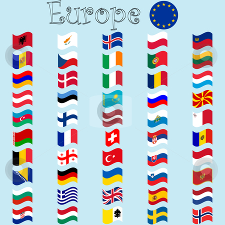 Europe stylized flags stock vector clipart, Europe stylized flags against blue background, abstract vector art illustration by Laschon Robert Paul