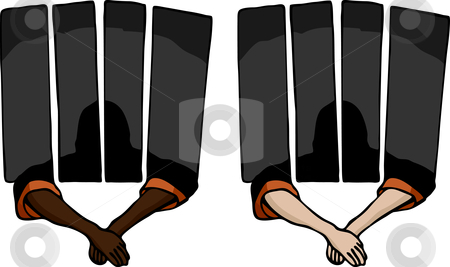 Behind Bars stock vector clipart, Prisoner holding arms outside of a jail cell. Includes two variations. by Eric Basir