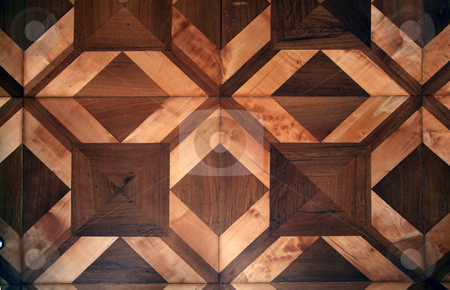 Parquet floor stock photo, Detail of ornamental wooden pattern parquet floor by Tomas Hajek