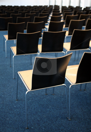 Conference room stock photo, Empty room with many chairs on blue carpet by Tomas Hajek