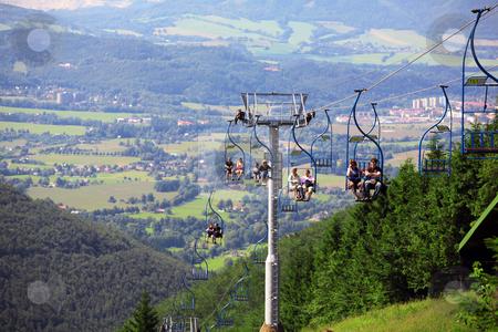 Village Pustevny, Czech republic stock photo, Cable railway over hill on Beskydy, Czech Republic by Tomas Hajek