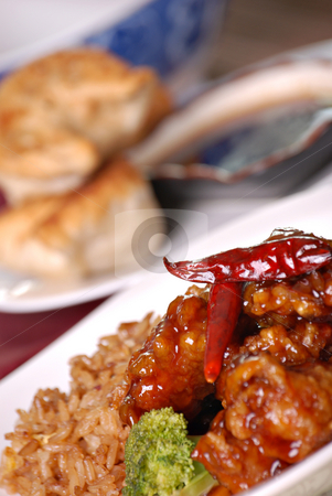 Chinese food stock photo, Spicy General Tso's and dumplings by HD Connelly