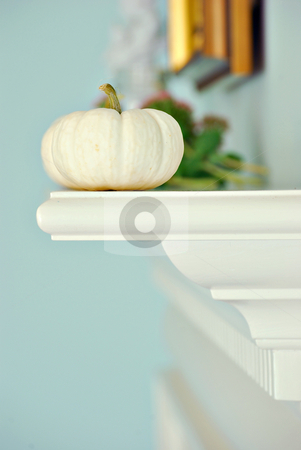 White pumpkins stock photo, White pumpkins on a mantle by HD Connelly