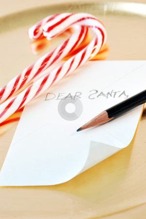 Dear santa stock photo, Candy canes and a note to santa by HD Connelly