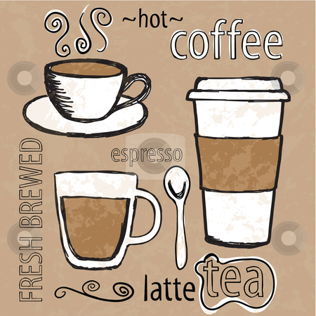 Cafe sketches stock vector clipart, Sketches of coffee cups and spoon with typography by HD Connelly