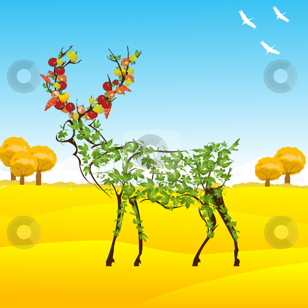 Autumn stock photo, Conceptual autumn illustration with a stylized deer with leaves and vegetables between horns by Richard Laschon