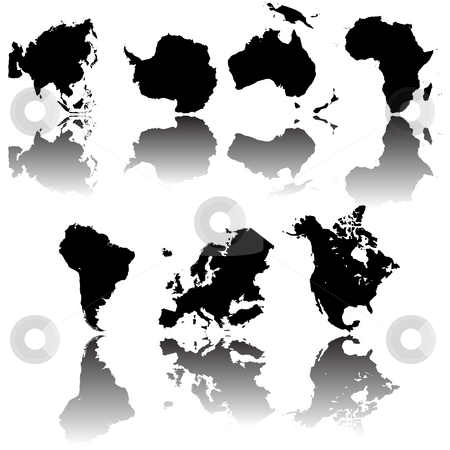 Continets maps stock photo, All continet maps, fully editable objects over white background by Richard Laschon