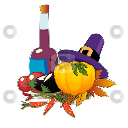 Thanksgiving day  stock photo, Thanksgiving Day hat and vegetables by Richard Laschon