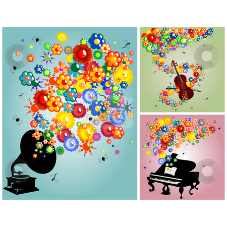 Sound of music stock photo, Music, flowers and instruments, backgrounds collection by Richard Laschon