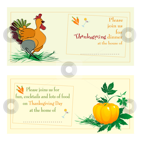 Thanksgiving day cards stock photo, Thanksgiving day/dinner invitations against white background by Richard Laschon