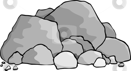 Boulders stock vector clipart, A pile of boulders and rocks. by Eric Basir