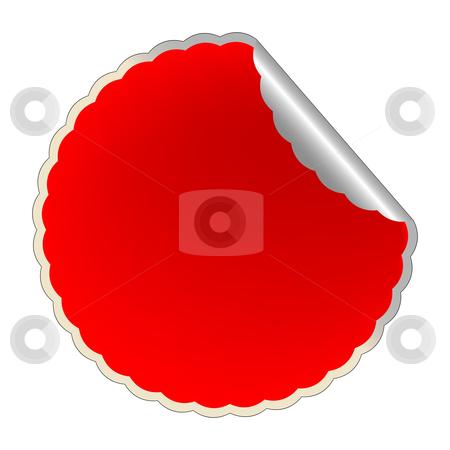 Flowerish red label stock vector clipart, Flowerish red label, vector art illustration by Laschon Robert Paul