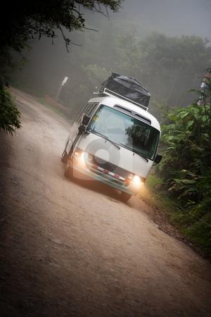 Tourist bus near Monteverde Costa Rica stock photo, Tourist bus in the cloud forest near Monteverde Costa Rica by Scott Griessel