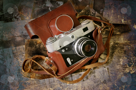 Grunge Camera Effect : Vintage folding camera grunge stock photo