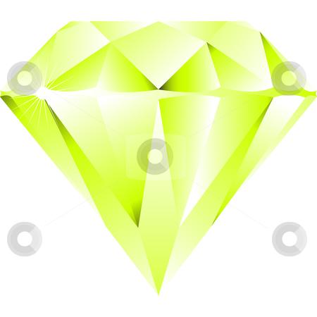 Green diamond isolated on white stock vector clipart, Green diamond isolated on white background, abstract vector art illustration by Laschon Robert Paul
