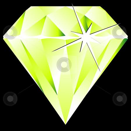 Green diamond against black stock vector clipart, Green diamond against black background, abstract vector art illustration by Laschon Robert Paul