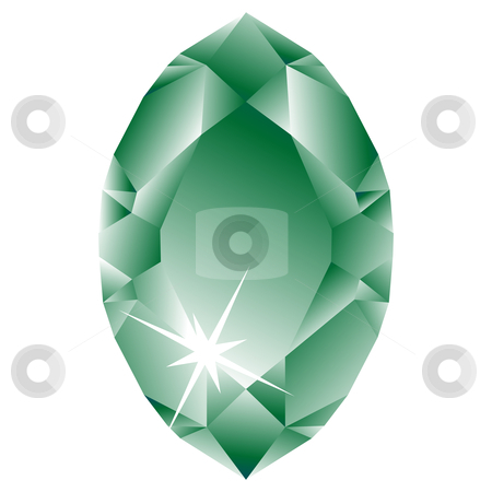 Green diamond against white stock vector clipart, Green diamond against white background, abstract vector art illustration by Laschon Robert Paul