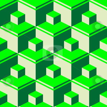 Green abstract cubes stock vector clipart, Green abstract cubes, vector art illustration by Laschon Robert Paul