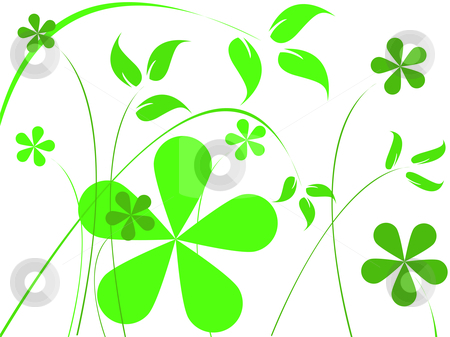 Green flowers stock vector clipart, Green flowers, abstract art illustration by Laschon Robert Paul
