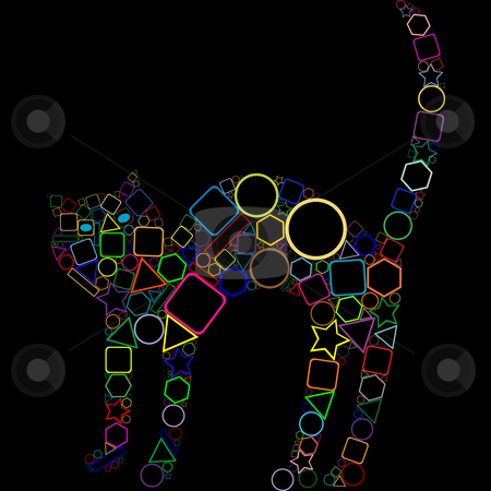 Geometric cat isolated on black background stock vector clipart, Geometric cat isolated on black background, abstract art illustration by Laschon Robert Paul