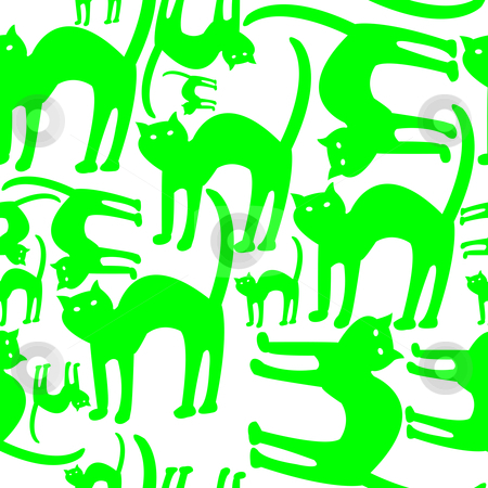 Green cats pattern isolated on white background stock vector clipart, Green cats pattern isolated on white, vector art illustration by Laschon Robert Paul