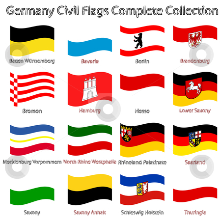 Germany civil flags collection against white stock vector clipart, Germany civil flags collection against white background, abstract vector art illustration by Laschon Robert Paul