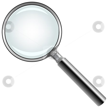 Magnifying glass against white stock vector clipart, Magnifying glass against white background, abstract vector art illustration by Laschon Robert Paul