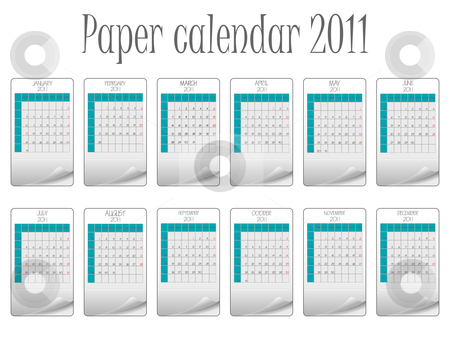 Paper calendar 2011 stock vector clipart, Paper calendar 2011 against white background, abstract vector art illustration by Laschon Robert Paul