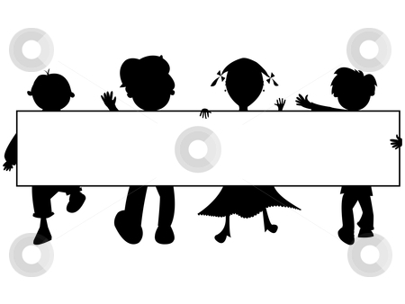 Kids silhouettes banner stock vector clipart, Kids silhouettes banner against white background, abstract vector art illustration by Laschon Robert Paul