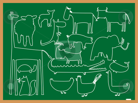 School animals drawing stock vector clipart, School animals drawing, abstract vector art illustration by Laschon Robert Paul