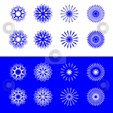 Snow flakes collection stock vector clipart, Snow flakes collection, vector art illustration; easy to change colors by Laschon Robert Paul