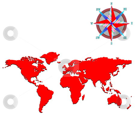 Red world map with wind rose stock vector clipart, Red world map with wind rose, vector art illustration by Laschon Robert Paul