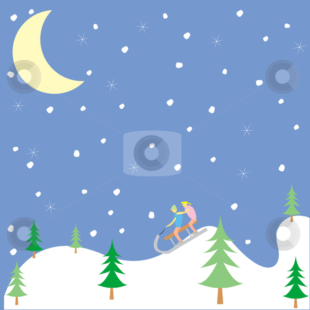 Kids playing in the winter stock vector clipart, Kids playing in the winter, vector art illustration, more drawings in my gallery by Laschon Robert Paul
