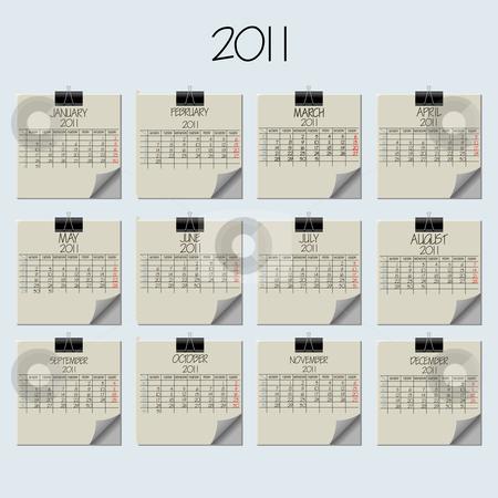 Paper note calendar 2011 stock vector clipart, Paper note calendar 2011, abstract vector art illustration by Laschon Robert Paul