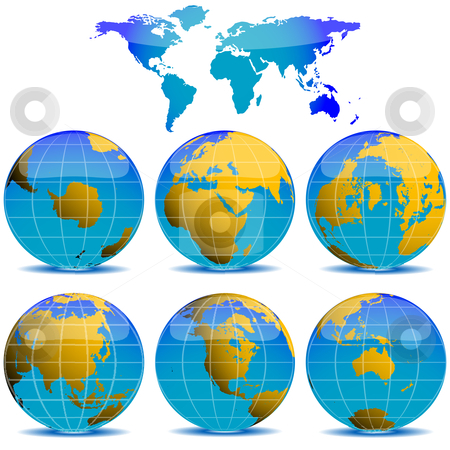 World globes collection stock vector clipart, World globes collection against white background, abstract vector art illustration by Laschon Robert Paul